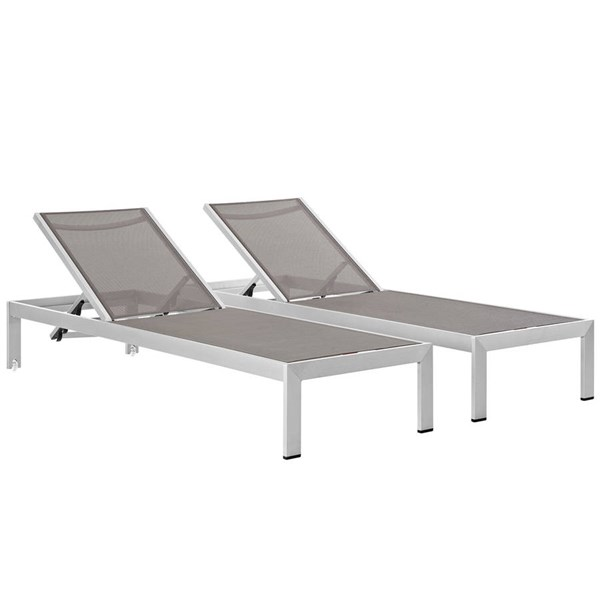 2 Modway Furniture Shore Silver Gray Outdoor Chaises EEI-2472-SLV-GRY-SET