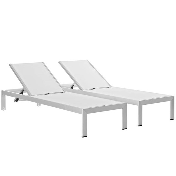 2 Modway Furniture Shore Silver White Outdoor Chaises EEI-2472-SLV-WHI-SET