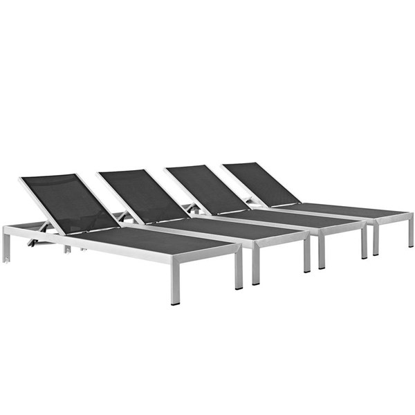 4 Modway Furniture Shore Silver Black Outdoor Chaises EEI-2473-SLV-BLK-SET