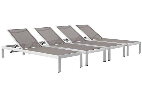 4 Modway Furniture Shore Silver Gray Outdoor Chaises EEI-2473-SLV-GRY-SET