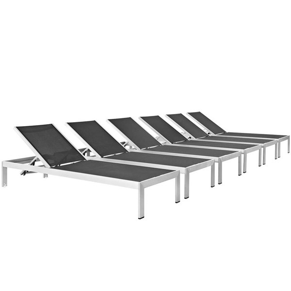 6 Modway Furniture Shore Silver Black Outdoor Chaises EEI-2474-SLV-BLK-SET