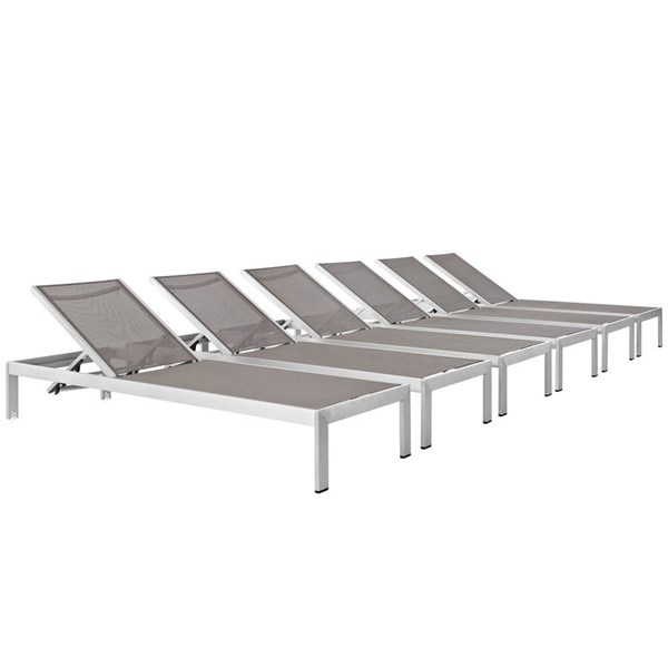 6 Modway Furniture Shore Silver Gray Outdoor Chaises EEI-2474-SLV-GRY-SET