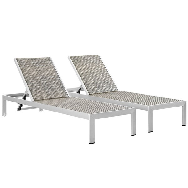 2 Modway Furniture Shore Rattan Outdoor Chaises EEI-2477-SLV-GRY-SET