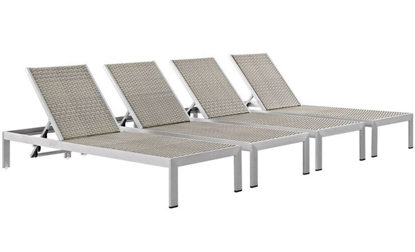 4 Modway Furniture Shore Rattan Outdoor Chaises EEI-2478-SLV-GRY-SET
