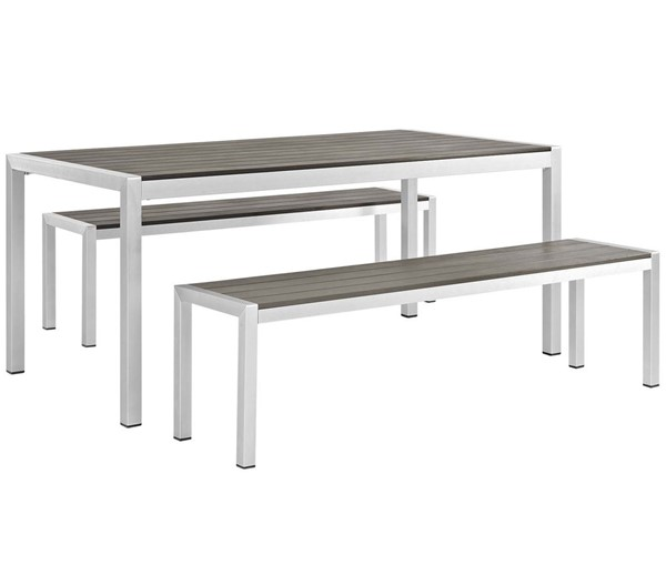 Modway Furniture Shore Silver Gray 3pc Outdoor Patio Aluminum Dining Set EEI-2480-SLV-GRY-SET