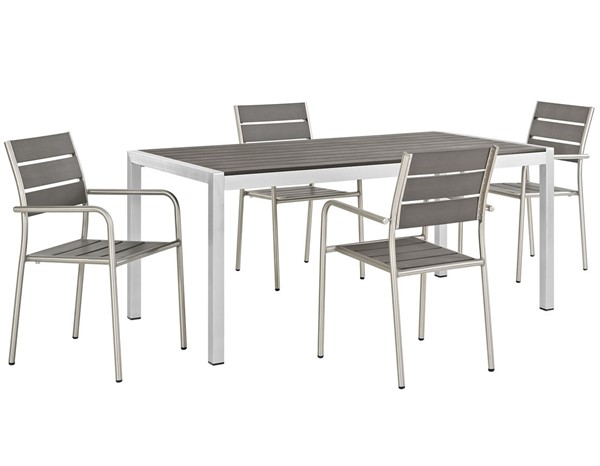 Modway Furniture Shore Silver Gray 5pc Outdoor Dining Set EEI-2481-SLV-GRY-SET