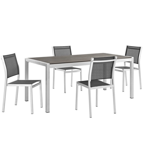 Modway Furniture Shore 5pc Outdoor Dining Set with Armless Chair EEI-2482-SLV-BLK-SET