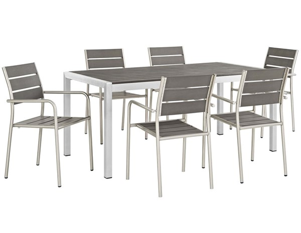 Modway Furniture Shore Silver Gray 7pc Outdoor Patio Dining Set EEI-2484-SLV-GRY-SET