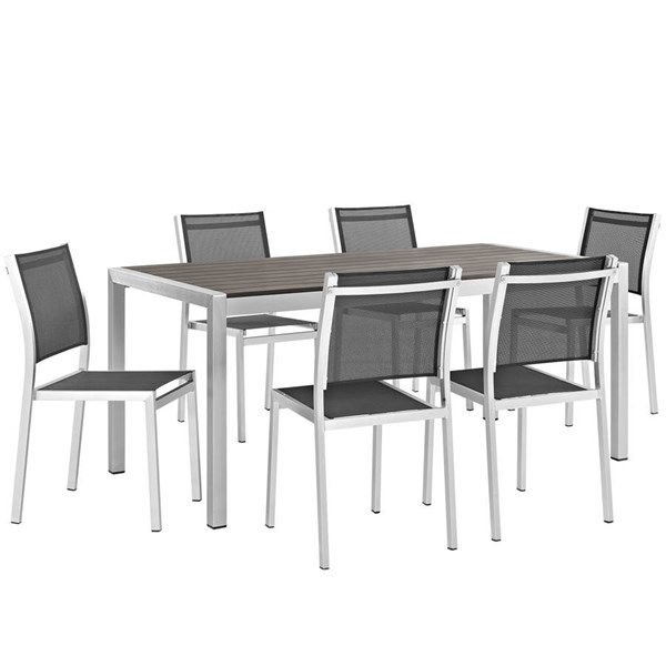 Modway Furniture Shore 7pc Outdoor Dining Set with Armless Chair EEI-2485-SLV-BLK-SET