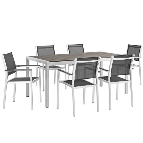 Modway Furniture Shore 7pc Outdoor Dining Set with Armchair EEI-2486-SLV-BLK-SET