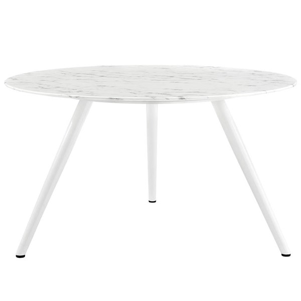 Lippa White Marble Top Metal Tripod Base 54 Inch Round Dining Table EEI-2526-WHI