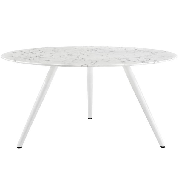 Modway Furniture Lippa 60 Inch Round Artificial Marble Dining Table with Tripod Base EEI-2527-WHI