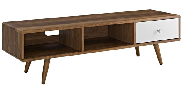 Modway Furniture Transmit Walnut White 55 Inch TV Stand EEI-2530-WAL-WHI