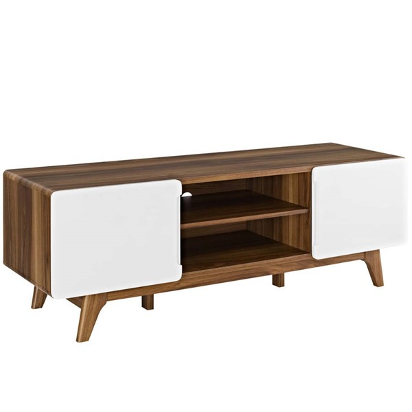 Modway Furniture Tread Walnut White 59 Inch TV Stand EEI-2543-WAL-WHI