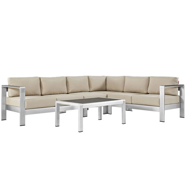 Modway Furniture Shore Silver Beige 5pc Outdoor Sectional EEI-2557-SLV-BEI