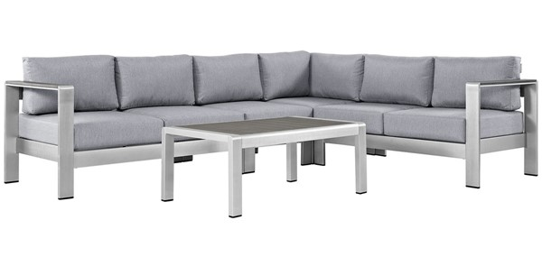 Modway Furniture Shore Silver Gray 5pc Outdoor Sectional EEI-2557-SLV-GRY