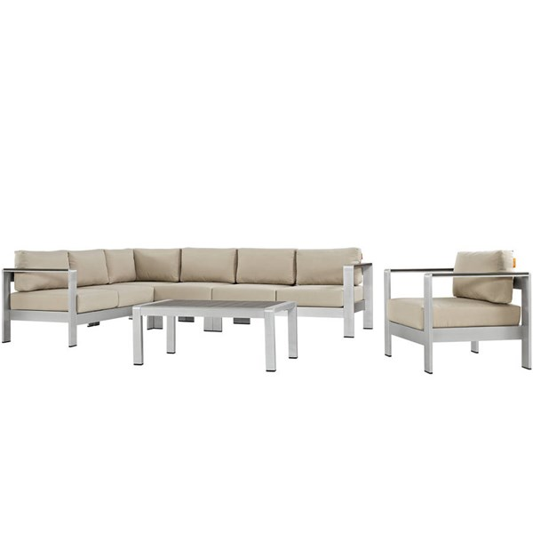 Modway Furniture Shore 6pc Outdoor Sectionals EEI-2558-SLV-SEC-VAR