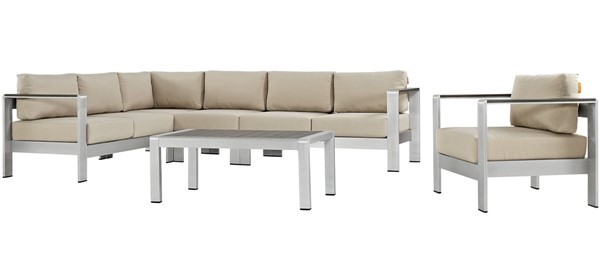 Modway Furniture Shore Silver Beige 6pc Outdoor Sectional EEI-2558-SLV-BEI