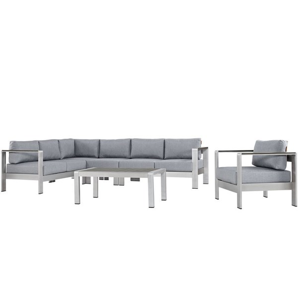 Modway Furniture Shore Silver Gray 6pc Outdoor Sectional EEI-2558-SLV-GRY