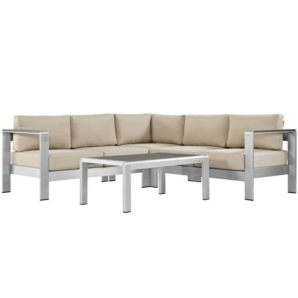 Modway Furniture Shore 4pc Outdoor Sectional EEI-2559-SLV-SEC-VAR