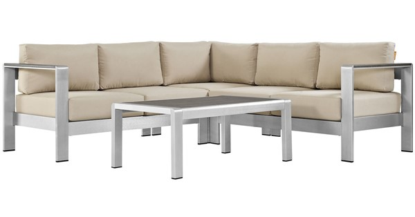 Modway Furniture Shore Silver Beige 4pc Outdoor Sectional EEI-2559-SLV-BEI