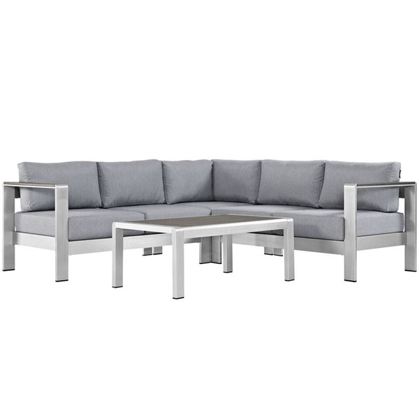 Modway Furniture Shore Silver Gray 4pc Outdoor Sectional EEI-2559-SLV-GRY