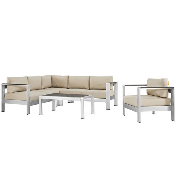 Modway Furniture Shore 5pc Outdoor Patio Sectionals EEI-2560-SLV-SEC-VAR