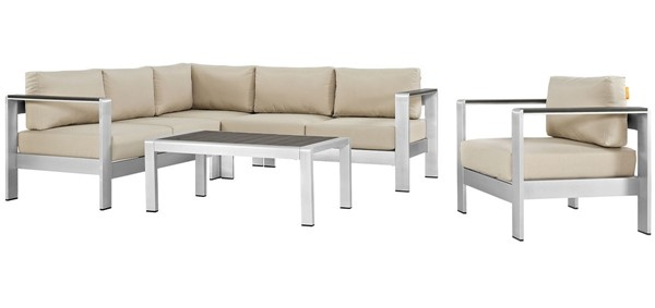 Modway Furniture Shore Silver Beige 5pc Outdoor Patio Sectional EEI-2560-SLV-BEI