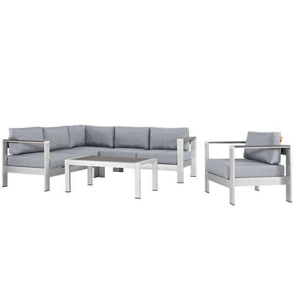 Modway Furniture Shore Silver Gray 5pc Outdoor Patio Sectional EEI-2560-SLV-GRY