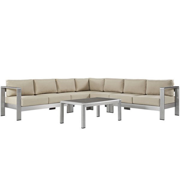 Modway Furniture Shore 6pc Outdoor Patio Sectionals EEI-2561-SLV-SEC-VAR