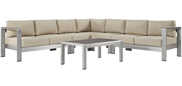 Modway Furniture Shore Silver Beige 6pc Outdoor Patio Sectional EEI-2561-SLV-BEI