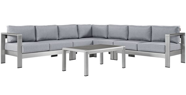 Modway Furniture Shore Silver Gray 6pc Outdoor Patio Sectional EEI-2561-SLV-GRY