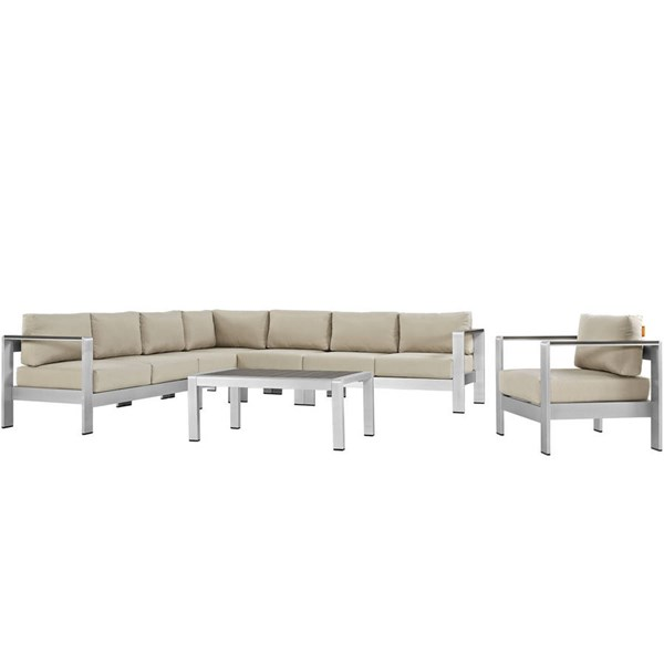 Modway Furniture Shore Silver Beige 7pc Outdoor Sectional EEI-2562-SLV-BEI