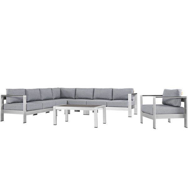Modway Furniture Shore Silver Gray 7pc Outdoor Sectional EEI-2562-SLV-GRY