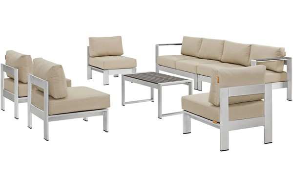 Modway Furniture Shore Silver Beige 7pc Outdoor Sofa Set EEI-2566-SLV-BEI
