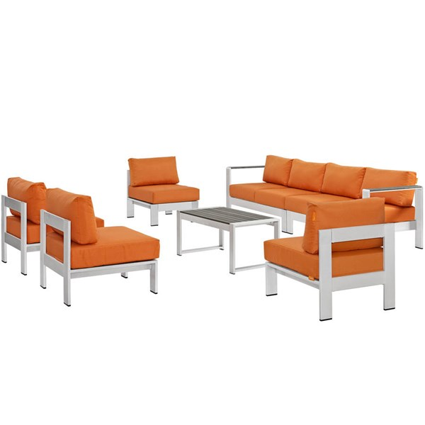 Modway Furniture Shore Silver Orange 7pc Outdoor Sofa Set EEI-2566-SLV-ORA