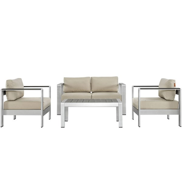 Modway Furniture Shore Silver Beige 4pc Outdoor Patio Sofa Set EEI-2567-SLV-BEI