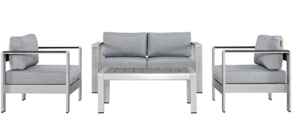 Modway Furniture Shore Silver Gray 4pc Outdoor Patio Sofa Set EEI-2567-SLV-GRY