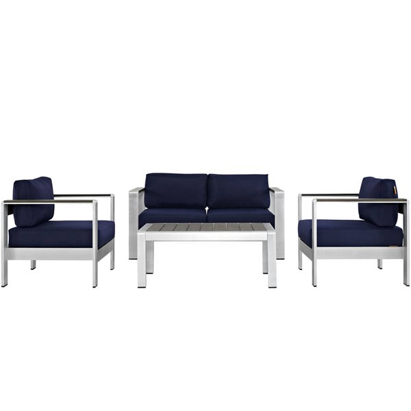 Modway Furniture Shore Silver Navy 4pc Outdoor Patio Sofa Set EEI-2567-SLV-NAV