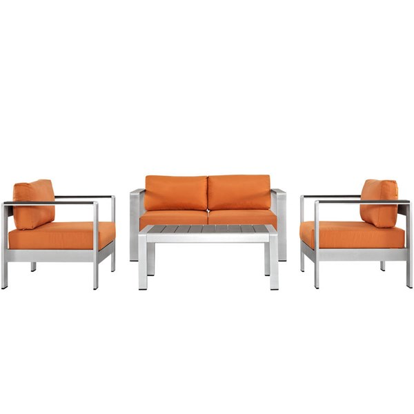 Modway Furniture Shore Silver Orange 4pc Outdoor Patio Sofa Set EEI-2567-SLV-ORA