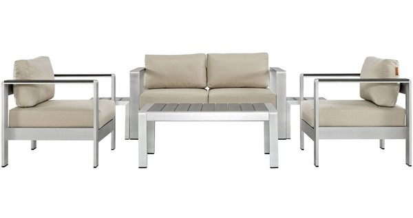 Modway Furniture Shore Silver Beige 6pc Outdoor Patio Sofa Set EEI-2568-SLV-BEI