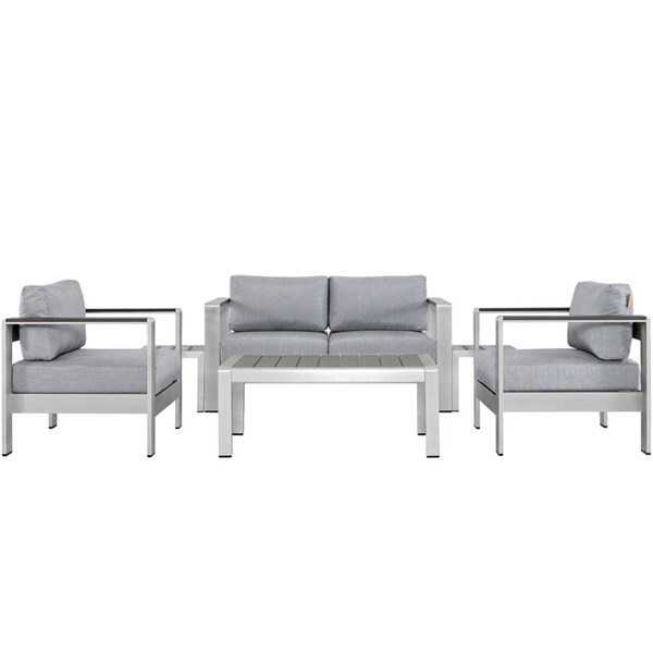 Modway Furniture Shore Silver Gray 6pc Outdoor Patio Sofa Set EEI-2568-SLV-GRY
