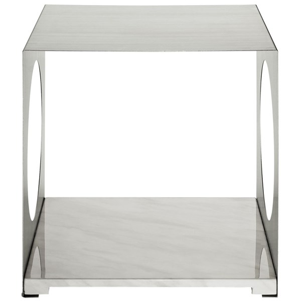 Surpass Modern White Steel Marble Side Table EEI-258-WHI