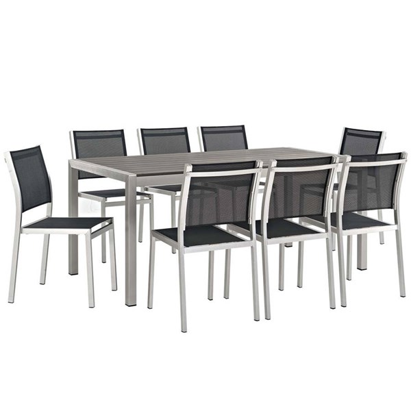 Modway Furniture Shore 9pc Outdoor Dining Set EEI-2583-SLV-BLK-SET