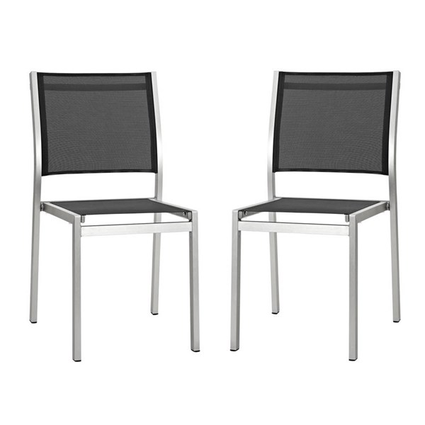 2 Modway Furniture Shore Silver Black Outdoor Patio Side Chairs EEI-2585-SLV-BLK-SET