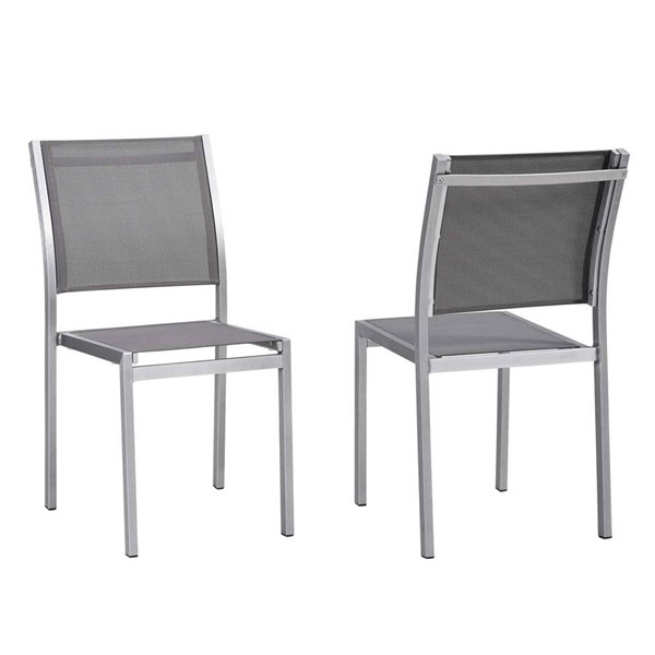 2 Modway Furniture Shore Silver Gray Outdoor Patio Side Chairs EEI-2585-SLV-GRY-SET