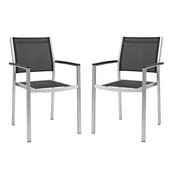 Modway Furniture Shore Silver Black Outdoor Patio Dining Chairs EEI-2586-ODCH-VAR