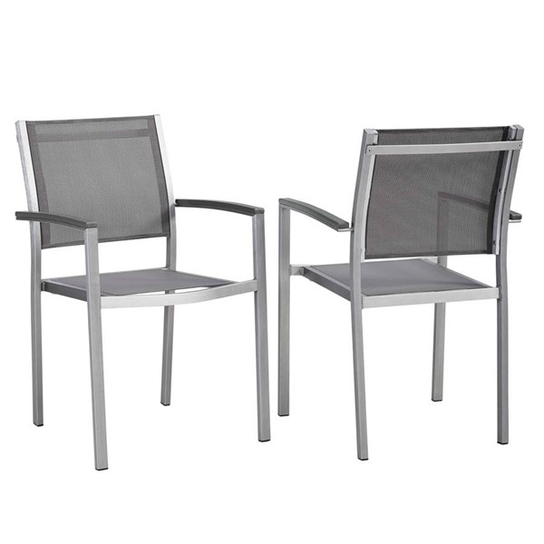 2 Modway Furniture Shore Silver Gray Outdoor Patio Dining Chairs EEI-2586-SLV-GRY-SET