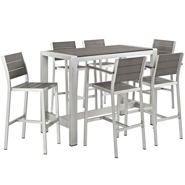 Modway Furniture Shore 7pc Outdoor Dining Set EEI-2587-SLV-GRY-SET