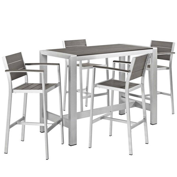 Modway Furniture Shore 5pc Outdoor Dining Set EEI-2588-SLV-GRY-SET